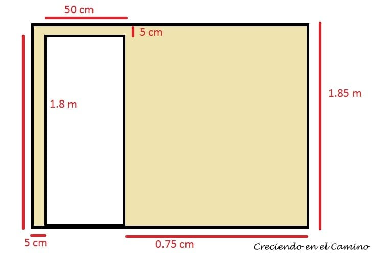 plano del baño de un motorhome