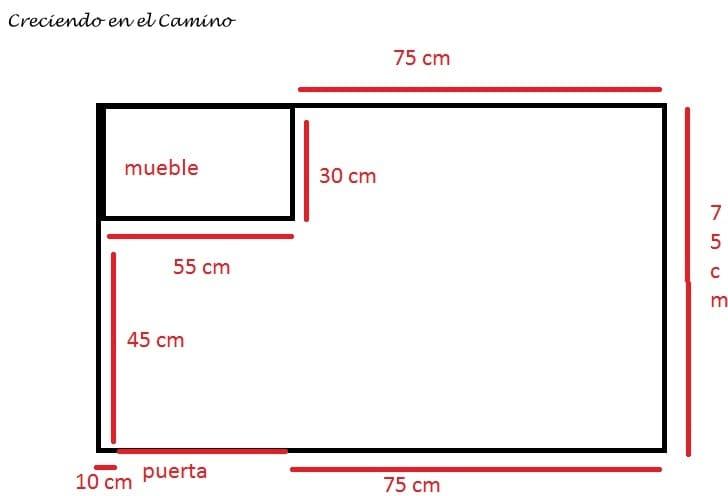 Plano del piso del baño de un motorhome