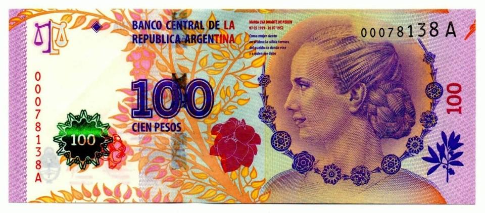que moneda en argentina, billete de 100 pesos
